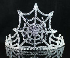 SPIDER BLACK AUSTRIAN RHINESTONE CRYSTAL TIARA WITH HAIR COMBS CROWN PARTY T1531