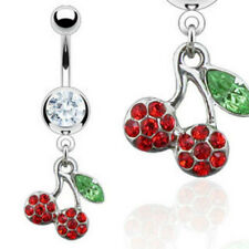 One Navel Belly Ring w/ Gem Cherry Dangle
