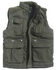 PADDED OUTDOOR BODYWARMER mens XXL olive gillet coat tough multi pocket jacket