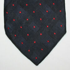 NEW Hautement Silk Neck Tie Black and Dark Blue Plaids with Red Diamonds 390