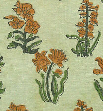 2½ Yards  Green Hand Printed Cotton New Block Print Fabric Floral Vine