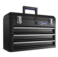 Kobalt Steel Tool Box Lockable Storage 3 Drawer Toolbox Black Heavy Duty 20.6 in