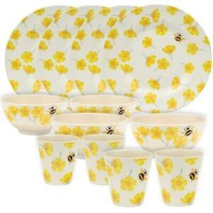 Emma Bridgewater - Buttercups Bamboo Melamine 12pc Set - 4 Plates/Bowls/Beakers