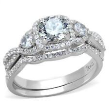 2.50 Ct Round Diamond Infinity Engagement Ring Wedding set White Gold ov Size 8