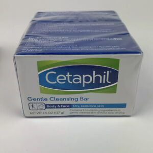 3x Cetaphil Gentle Cleansing Bar Body & Face for Dry, Sensitive Skin 4.5oz each