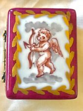 """Charming Vintage Limoges Hand Painted """"Cupid"""" Trinket Box: Book /w Picture Frame"""