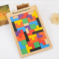Wooden Tangram Jigsaw Brain Teaser Puzzle Intelligence Wood Blocks Kids Toy Gift