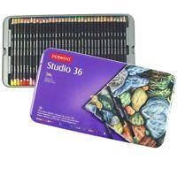 36 Brilliant Colours Derwent Studio Pencils Tin Set Art Adult Colouring Books