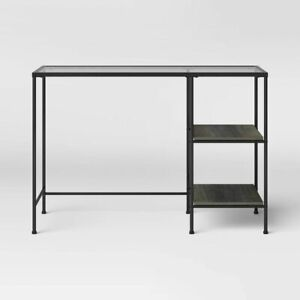 Fulham Glass Writing Desk with Storage Black Project 62 Floor Model Target