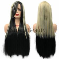 Ombre Black Brown Blonde Gradient Wig Long Straight Wavy Full Head Ladies Hair