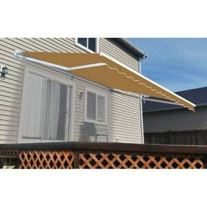 ALEKO Retractable Patio Waterproof Awning 12 X 10 Ft Deck Sunshade Sand Color