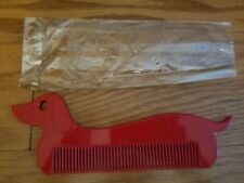 Janeke Vintage Red Plastic Dachshund Dog Novelty Comb Made in Italy - NEW