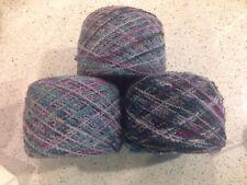 Art Yarn - Wool Boucle Yarn - Blue - Teal - Purple Multi - Shimmer Thread