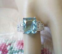 Vintage Jewellery Gold Ring Aquamarine White Sapphires Antique Art Deco Jewelry