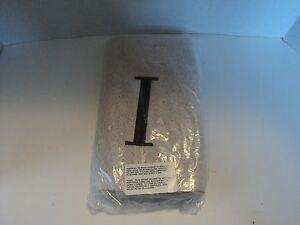 Avanti Premier Linen Block Monogram Hand Towel Initial I  Brown Small