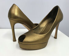 YSL LEATHER SHOES PEEP TOES METALLIC BRONZE TONE SIZE 36 1/2