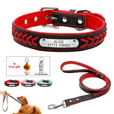 Braided Leather Personalized Dog Collar and Leash Soft Padded Puppy Dog Collar