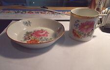 Antique MEISSEN Crossed Swords Cup & Saucer-Flowers-#6