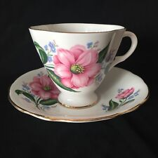 "WINDSOR Bone China ""Pink Wild Rose & Forget-me-not"" TEACUP & SAUCER"
