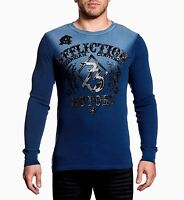 NWT AFFLICTION Blue LIVE FAST MOTORS Long Sleeve Thermal Shirt Mens Large