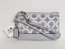 Coach Kristin OP ART Fog Light Gray Sateen Wristlet NWT In Package 45085