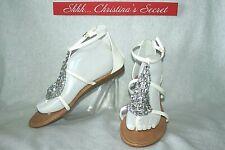 UNIONBAY NEW Sandals Thongs Rhinestones White T-Strap Zip Low H. Cecile Sz 10 M