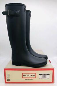 HUNTER Women's Original Refined Tall Rain Boot - Black , choose size