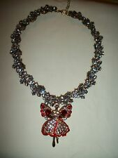 JEWELRY NECKLACE  BUTTERFLY ANGEL RHINESTONE ANTIQUE & SHINNY GOLD PLATED