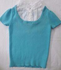 Talbots Kids Top Girls Size 7 Rib Knit 100% Cotton Front Ruffle Blue White