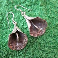 Hill Tribe Earrings Pure Silver Handcrafted Artisan Jewelry Flower Floral er051