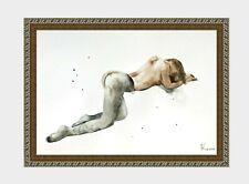 aquarelle watercolor A4 nude female drawing originale nu women woman girl 43 new