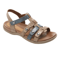 Rockport Cobb Hill Rubey T-Strap Sandals ch0075 Taupe / Blue adjustable straps