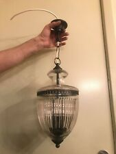 Antique BEAUTIFUL Hanging Chain Lamp Ampel Pendant Hard Solid Glass Heavy