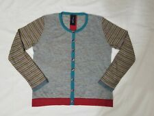 Eva & Claudi Womens Cardigan Sweater Size Large Wool Blend Long Sleeves Striped