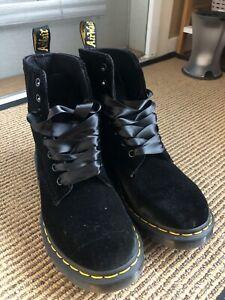 Dr. Martens Black Velvet Boot, Women Size 8
