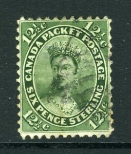 CANADA Scott 18 - USED - 12½¢ Yellow Green First Cents Issue (.008)