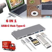 6in1 Type C USB C Hub Adapter 3.0 ports Card Reader 4K HDMI For MacBook Pro US