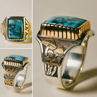 Vintage Men's Two-tone 18K Gold Turquoise Ring Maple Leaf Wedding Rings Jewelry