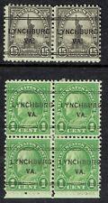 US: 1926 1c and 15c with LYNCHBURG VA precancel (243). DLE PAIR & BLOCK of 4 !