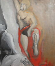 Vintage european oil painting abstract composition nudes