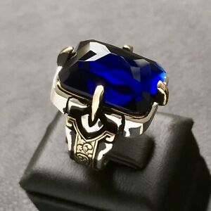 Sterling Silver Mens Ring Blue Sapphire Statement Solid Artisan Turkish Jewelry