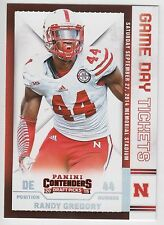 RANDY GREGORY 2015 Panini Contenders Draft Picks Game Day Tickets Cornhuskers