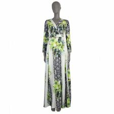 52962 auth ROBERTO CAVALLI white black green silk 3/4 Sleeve Maxi Dress 38 XS