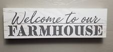 WELCOME TO OUR FARMHOUSE WOOD FRAME DESTRESSED HOME KITCHEN DECOR