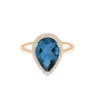 Solitaire Accents 9K Rose Gold 8X5 MM Pear London Blue Topaz Eternity Ring US-5