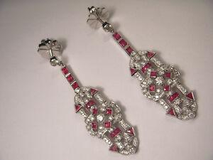 Art Deco Antique 18K White Gold Diamond Ruby Dangle Earrings