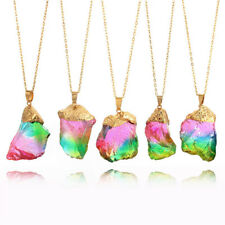 Gold Plated Natural Crystal Stone Necklace Quartz Pendant Irregular Necklace FO
