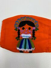 FACEMASK  , MUNECA , MEXICO , ORANGE   , EMBROIDERED, CUBREBOCAS , TWO LAYERS