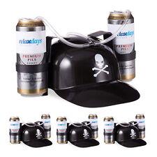 4 x Trinkhelm Pirat, Bierhelm, Saufhelm Partyhelm Helm für 2 Dosen Bier Schlauch