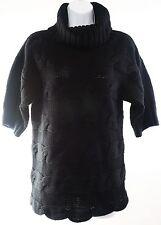 Knit Turtle Neck Sweater Cowl Neck Cache Black Short Sleeve Womens Medium